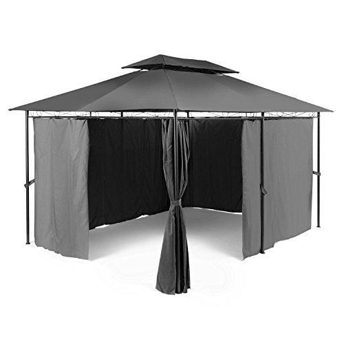 blumfeldt Grandezza Partyzelt - Garten-Pavillon mit Lüftungsöffnungen, Outdoor, Maße: 3 x 4 m, Seitenwände, Stahl, pulverbeschichtet, Klettverschluss, wasserabweisend, robust, grau