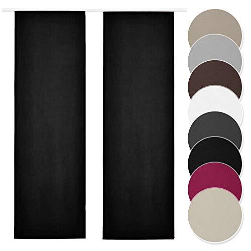Melody Schiebevorhang 2er Set schwarz Blickdicht Raumtrenner mit Klettband Paneelwagen 60x245cm einfarbig #9018