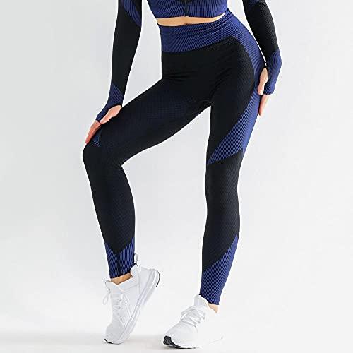 MQQM Push up Yoga Leggings de Cintura,Pantalones de Yoga de Cintura Alta sin Costuras, Polainas Deportivas Que levantan la Cadera-Azul_L,Opacas Cintura Alta Yoga Medias