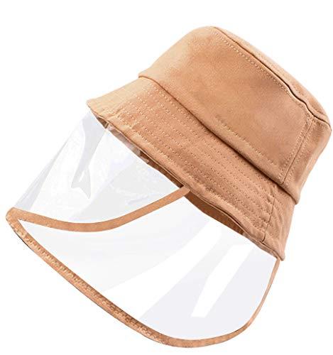 Keleily Cappello con Visiera Protettiva Trasparente, Cappello da Pescatore Donna Cappello Esterno di Protezione Solare per Antipolvere, Antivento, Anti-sputi, Kaki - M