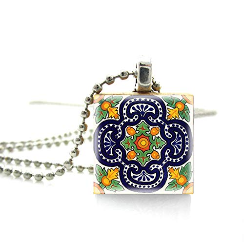 Vintage Handgemalte Mexikanische Talavera Fliesen Muster Drucken Malerei Scrabble Fliesen Halskette Handgemachte Holz Anhänger Halsketten