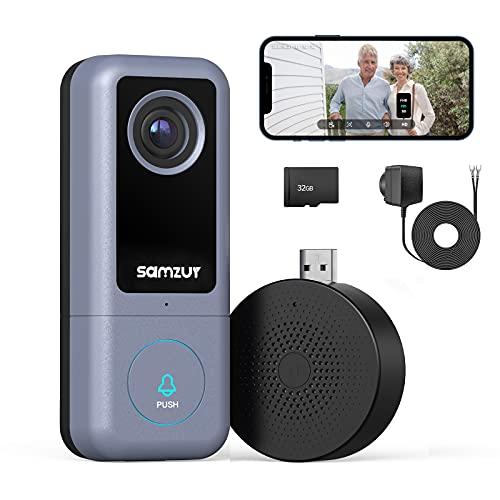 Video WLAN Türklingel mit Kamera (kabelgebunden), USB Türglocke, Samzuy 2K Ultra HD Smart Doorbell, intelligente Bewegungserkennung, 2-Wege-Audio, Nachtsicht, IP65 Wasserdicht, 32 GB Speicherkarte