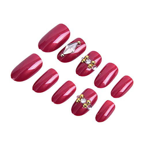 CSCH Faux ongles Luxe Shining Rhinestone Wedding False Nails red Glitter Gems Crown Designed Square Full Short Fake Nails Bride