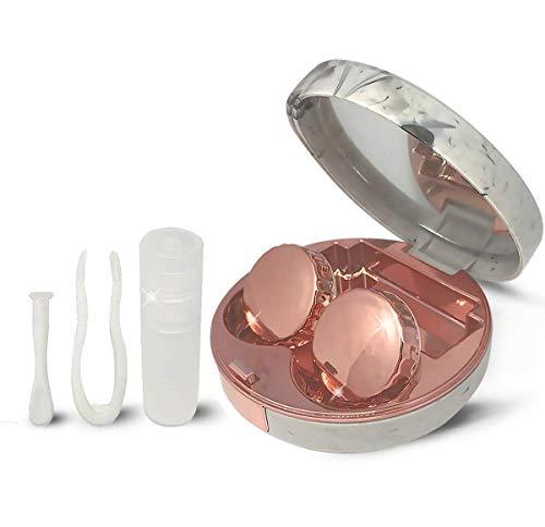 Tragbares Kontaktlinsenetui, Taschengröße, Kontaktlinsen-Set mit Spiegel, Marmor, Rotgold