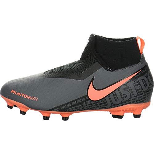 Nike Junior Phantom Vision Academy DF FG/MG Soccer Cleats (Dark Grey/Bright Mango/Black) (2 M US Little Kid)