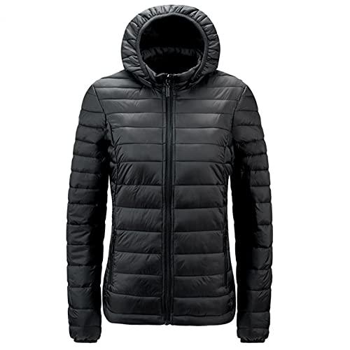Sunnyuk Giacca invernale da donna con collo alto, taglio corto, trapuntata, giacca invernale imbottita, giacca invernale, Nero , XL