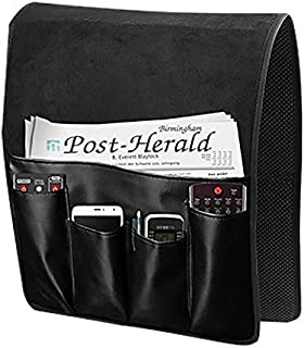 5 Pockets Sofa Armrest CoverOrganizer Double Sided Waterproof Remote Control Holder Chair Couch Armrest Caddy Pocket Organizer Magazine Rack Space Saver Storage Bag Pouch for Phone Book Tablets