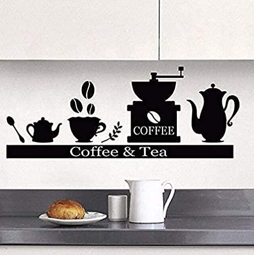 TJVXN 57X23cm cafetera Etiqueta de la Pared sostenedor de la Taza de té Estante Vinilo Etiqueta de la Pared Desmontable Estilo café Mural Bar café...