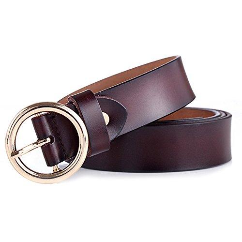GAXmi Cintura di Pelle Donna Marrone Elegante Sottile per Jeans/Vestito con Fibbia Rotonda