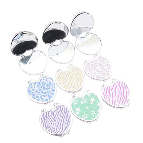 FRCOLOR Taschenspiegel, herzförmiger Spiegel Kleiner Geldbeutelspiegel Doppelseitiger Klappspiegel für Frauen