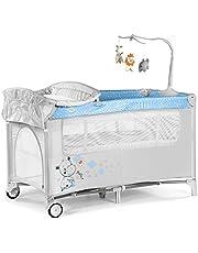 Innovaciones Ms 630223- Cuna De Viaje con Dos Alturas, hasta 15 kg, altura recién nacido, con apertura lateral, ruedas, colchón, cambiador bebe, bolsa de transporte, plegable y regulable, Gris/Rosa