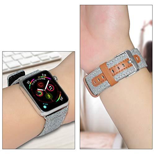 Transer per Apple Watch3 / 4 Fodera in Tessuto 38mm e Cinturino in Pelle di Vitello Marrone (White)