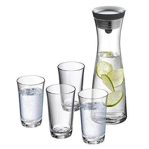 WMF Basic Wasserkaraffe-Set 5-teilig, Karaffe 1l mit 4 Wassergläser 250ml, Glas, Höhe 30,2 cm, Glaskaraffe mit Deckel, Silikondeckel, CloseUp-Verschluss