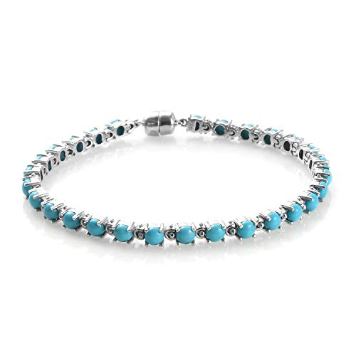 Sleeping Beauty Turquoise Bracelet (Size 7.5) in Platinum Plated Sterling Silver 8.25 Ct, Silver wt 9.80 Gms