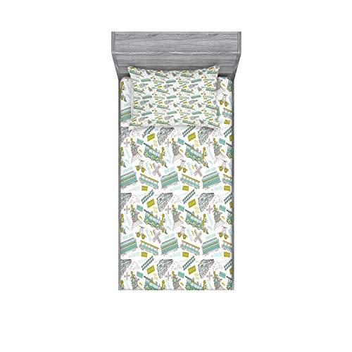 Ambesonne - Juego de sábanas y fundas de almohada para motor de vapor, diseño de tren de Choo Choo, color azul y verde, 2 piezas
