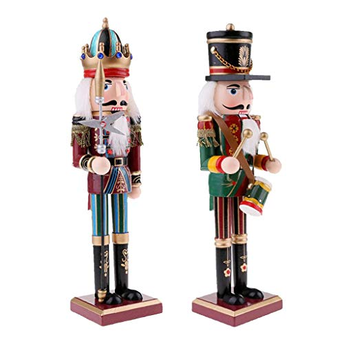 HomeDecTime Set of 2 Wooden Nutcracker Soldier Drummer & King, Ornaments Christmas