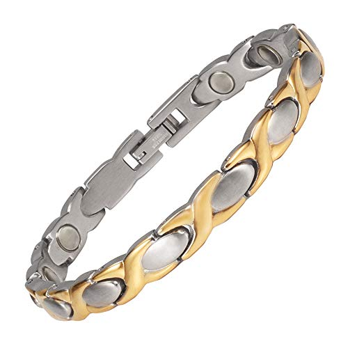 YINOX STB-0016GS 19cm Gold Magnetic Bracelet for Women Stainless Steel Bracelet Birthday Gift for Mom Wife