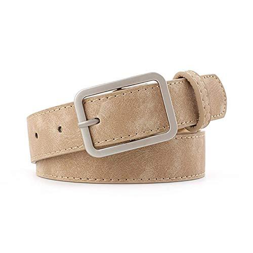 DSY Moda 2.8 cm de Ancho Cintura Correa Correa Marrón Negro Mujer Cuadrada Metal Hebilla Cinturones Damas Hembra Cinturones para Jeans (Cinturón Longitud: 105X2.8Cm, Color: Camello)