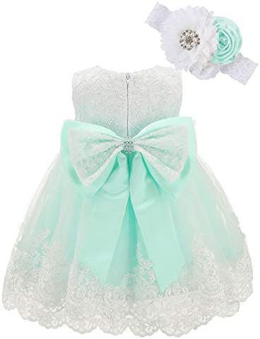 Bow Dream Baby Flower Girl Dresses Lace Bowknot Wedding Pageant Formal Tutu Gown Mint 12 18 product image