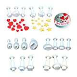 Star Cookie Cutters, 20pcs Cookie Cutters Fondant Plunger Cutter Set, Heart, Square, Oval, Circular, Star, Diamond Cake Cookies Christmas Cupcake Decorating Tool White Fondant DIY Mold