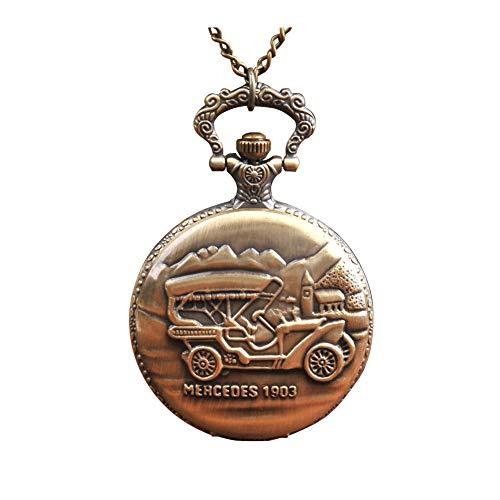 Reloj de Bolsillo Collar de Las Mujeres del patrón de Bolsillo de Cuarzo analógico Reloj de Bolsillo en Relieve Jeep Coche de Cadena Pendiente de Bolsillo del Bronce del Collar del Reloj
