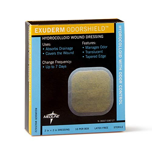 Medline MSC5522 Exuderm Odorshield Hydrocolloid, 2' x 2' (Pack of 10)