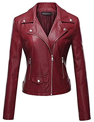 Tanming Women's Long Sleeve Zipper Fuax Leather Jacket Coat (XX-Large, Red Rock) by