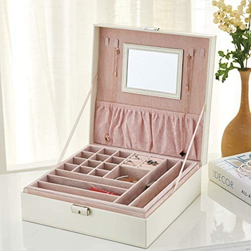 Gymqian Caja de Joyería de Cuero con Espejo Capas de Doble Capa Caja de Alenamiento de Joyería de Viaje Joyería Organizador Mostrar Caja de Alenamiento Alta capacidad