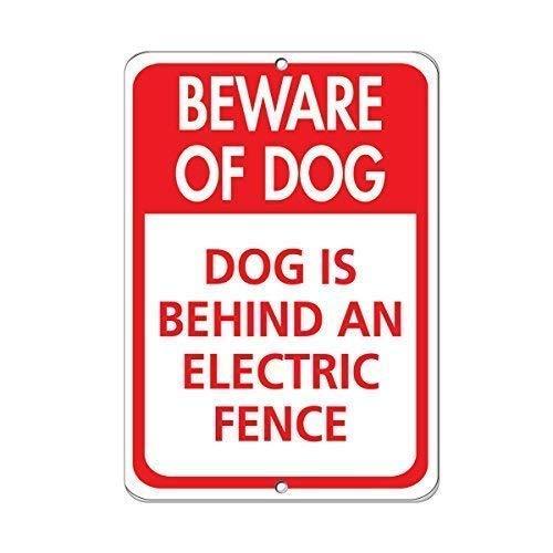 Metalen bord Grote Aluminium Tin Teken 12x16 inch Pas op voor hond hond is achter een elektrische hek teken voor buiten & binnen