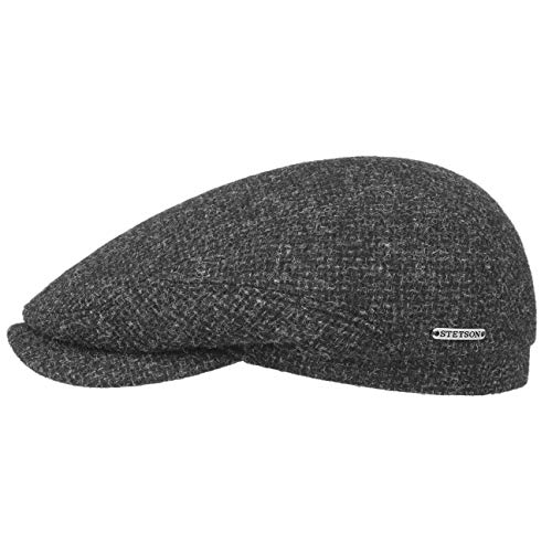 Stetson Belfast Tweed Flatcap Schirmmütze Schiebermütze Wollcap Mütze für Herren - Made in The EU Wintercap mit Schirm, Futter Herbst-Winter - 61 cm anthrazit
