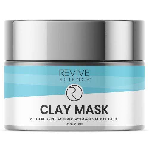 Revive Science Clay Mask with Activated Charcoal, Kaolin Clay, Pink Clay, and Organic Lecithin to Reduce and Exfoliate Acne, Blackhead, Dirt, and Oil - Pore Cleansing Detox Face Mask for Men &Women (60 ML)
