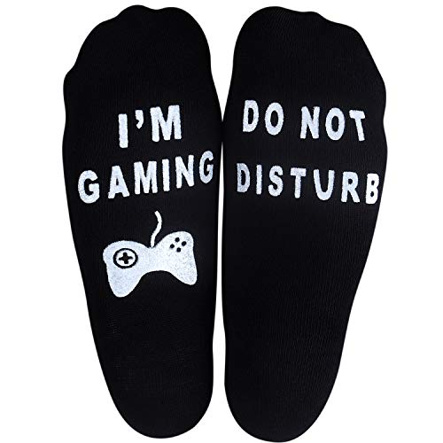 Unisex Cotton Novelty Ankle Socks with Anti Slip Letters Gift for Gamer Lovers