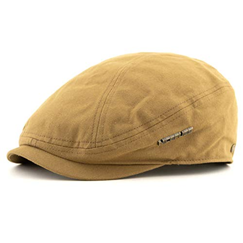 WUIO Newsboy Gorra, sombrero plano de algodón para hombre, gorra de hiedra ajustable, sombrero de conducción de golf sombrero de pato, sombrero de pato, sombrero de irlanda, gorra plana, caqui, L
