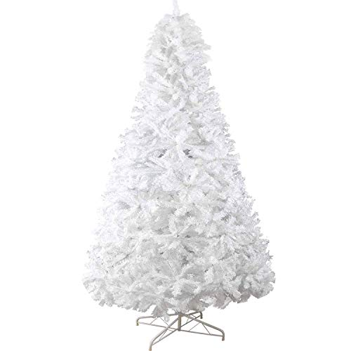 LUCKYERMORE 10 ft White Christmas Tree Artificial PVC Pine Branches with 2150 Tips Full Xmas Tree, Sturdy Metal Stand Included