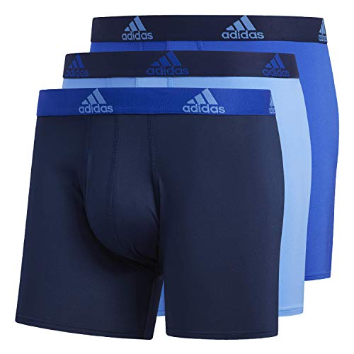 adidas Men's Performance Boxer Briefs Underwear (3-pack), Real Blue/Collegiate Navy | Bold Blue/Collegiate Navy | Collegiate Navy/Bold Blue, Small