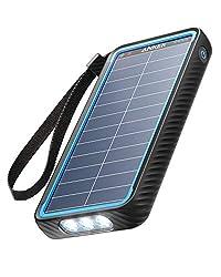 Anker PowerCore Solar 10000 (ソーラーモバイルバッテリー 10000mAh 大容量)【ソーラーチャージャー/防塵/防水 / IP64対応 / フラッシュライト搭載/低電流モード搭載/PSE認証済】iPhone & Android 各種対応の商品画像