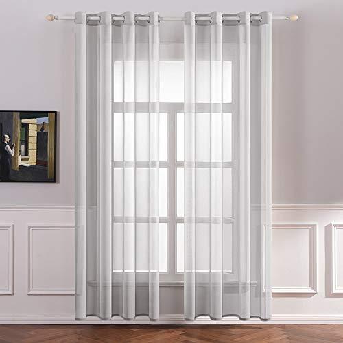 MIULEE 2er Set Sheer Voile Vorhang mit Ösen Transparente Optik Gardine aus Voile Polyester Ösenschal Transparent Wohnzimmer Fensterschal für Schlafzimmer Babyroom 140 X 145 cm (B x H), Grommet Top