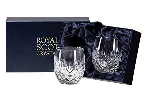 Royal Scot Crystal Edinburgh handgesneden glas Whisky vat Tumbler Set van 2 in presentatie doos 240ml 8fl oz