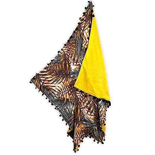 Kikoy - Toalla de playa con pompón, 90 x 170 cm, 100 % algodón, parte delantera 100 % poliéster, parte trasera, toalla de playa, pareo, toalla de doble cobertura (palmeras gris)