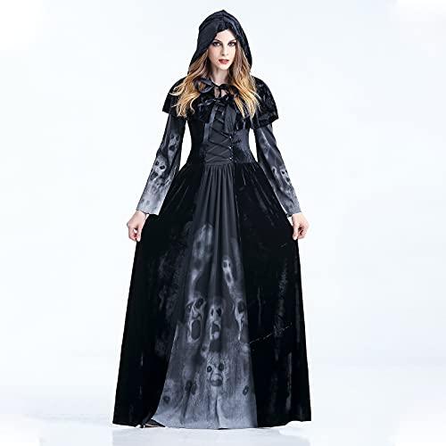 MiiDD Damen Hexen Kostüm,Zombie Kostüm Damen Langarm Vampir Kleid Schwarz Hexen Umhänge Kapuze Halloween ,Vampir Langes Robe Kostüme für Cosplay(Hexen,M)