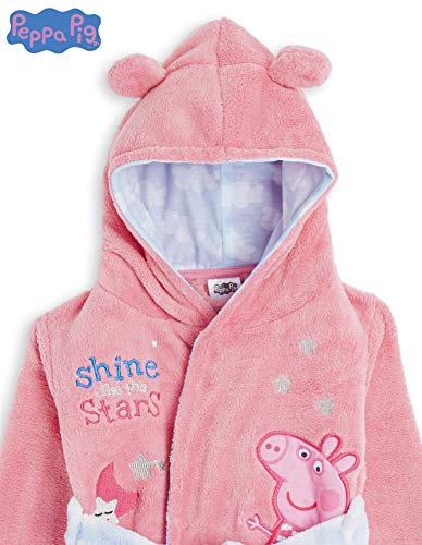 Peppa Pig Dressing Gown for Kids Pink, Hooded Super Soft Girls Dressing Gown with Belt and 3D Animal Ears, Children Fleece Dressing Gowns, Clothes Sleepwear, Gifts for Girls (5/6 Years)