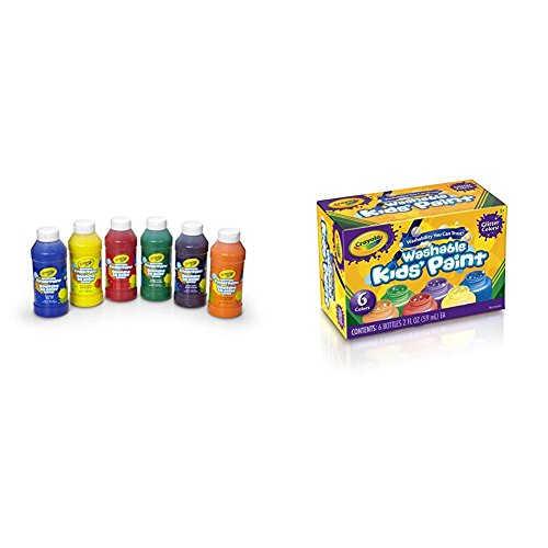 Crayola 6 Count 8 oz. Washable Kids Fingerpaints, Paint Supplies for Kids,3 Bold Primary & 3 Bright Secondary colors with Crayola Washable Glitter Paint Great for Classroom Projects, 6 Count Bundle