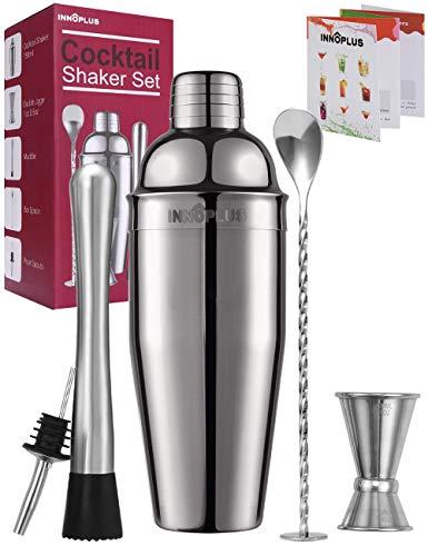 Ensemble shaker à cocktails, shaker à martini, shaker à boissons, kit de barman 750 ml, mélangeur de boisson Margarita cadeau de Noël, pilon, cuillère à mélanger, doseur, bec verseur à alcool