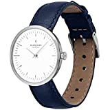 Nordgreen Infinity Scandinavian Silver Women's Watch Watch Analog 32mm (Small Face) with Navy Leather Strap 10083