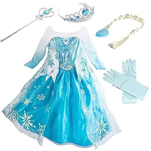 Emin Princess Dress Vestido Lentejuelas de Manga Larga Niñas Niños Disfraz y Accesorios Tiara Guantes Cosplay Vestido de Noche Disfraces Cumpleaños Navidad Halloween Carnaval Fiesta