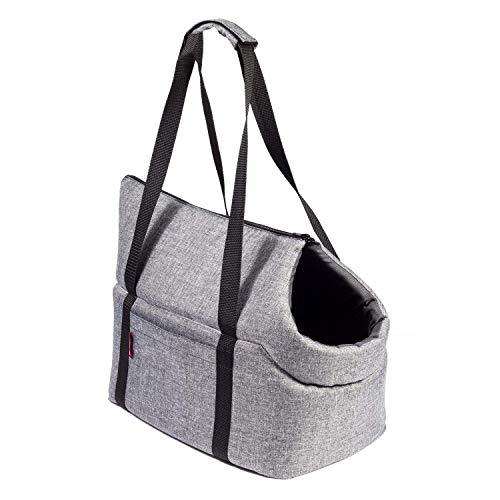 BoutiqueZOO Hundetasche - Grau, L bis 15 kg - Tragetasche für kleinen und mittleren Hund, Welpen, Katze