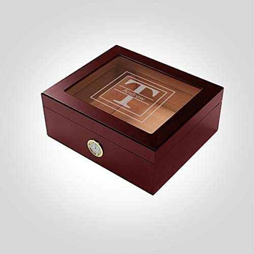 Desktop Cherry Cigar Humidor Initial Box with Lid | Custom Monogrammed | Lined with Genuine Spanish Cedar Case | Hygrometer, Humidifier and Glass Sophistication Top Box