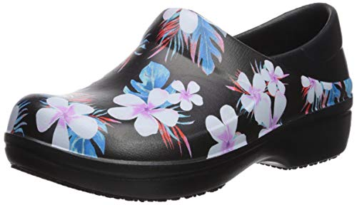 Crocs Women's Neria Pro II Clog | Slip-Resistant Work and Nursing Shoe, Tropical Floral/Black, 9 M US