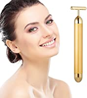 Beauty Bar 24k Golden Pulse Massage du visage du visage, T-Shape Electric Sonic Energy Massage Arm Eye Nose Head Face...