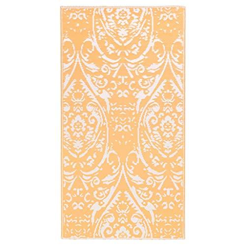 vidaXL Alfombra de Exterior PP Naranja y Blanco 120x180 cm